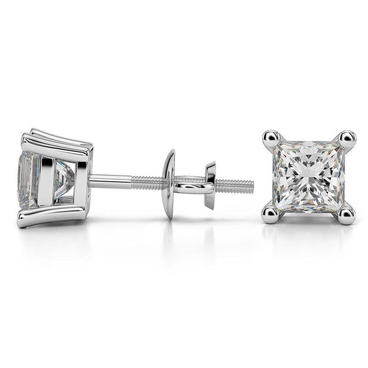 Princess Moissanite Stud Earrings in White Gold (5.5 mm) | 03
