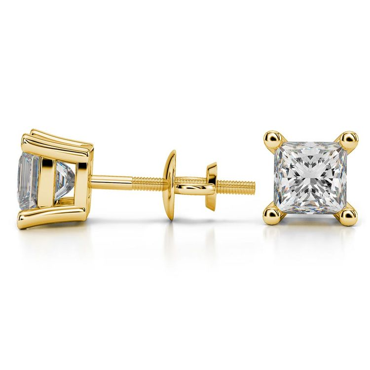 Princess Moissanite Stud Earrings in Yellow Gold (5.5 mm) | 03