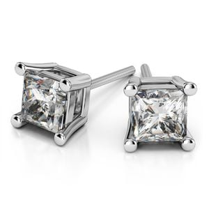 Princess Moissanite Stud Earrings in White Gold (5 mm)