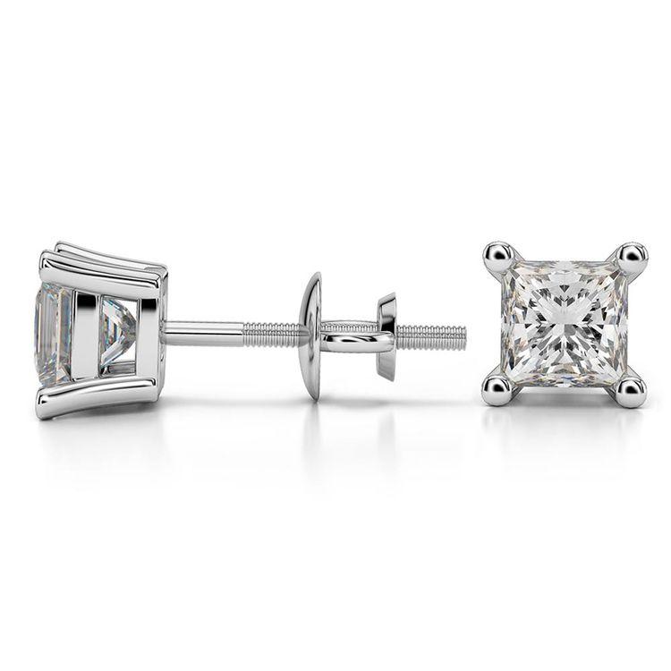 Princess Moissanite Stud Earrings in White Gold (5 mm) | 03
