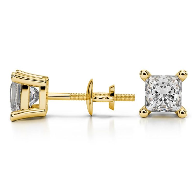 Princess Moissanite Stud Earrings in Yellow Gold (5 mm) | 03