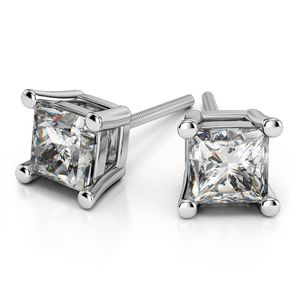 Princess Moissanite Stud Earrings in White Gold (6.5 mm)