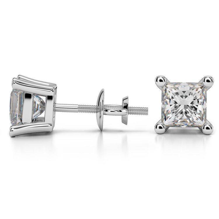 Princess Moissanite Stud Earrings in White Gold (6.5 mm) | 03