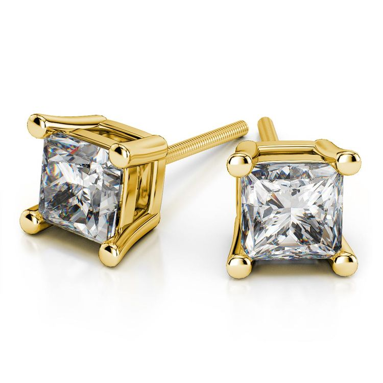 Princess Moissanite Stud Earrings in Yellow Gold (6.5 mm) | 01