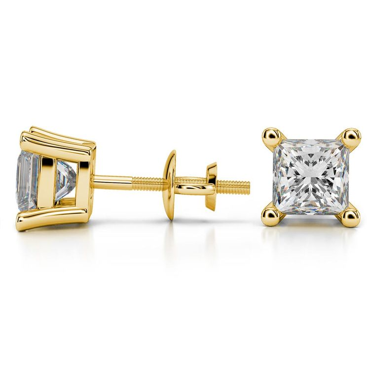 Princess Moissanite Stud Earrings in Yellow Gold (6.5 mm) | 03