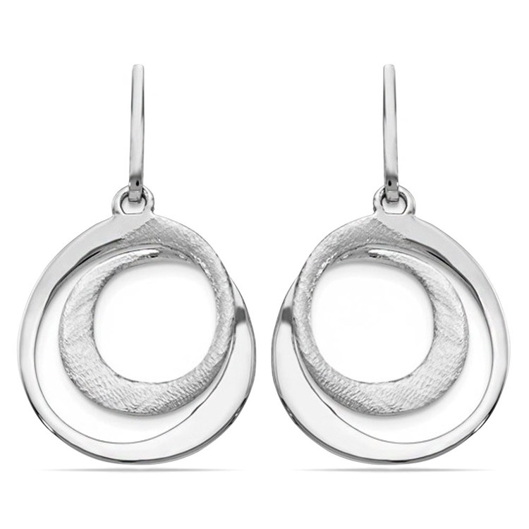 Radiant Essence Textured Dangle Earrings in Silver | 01
