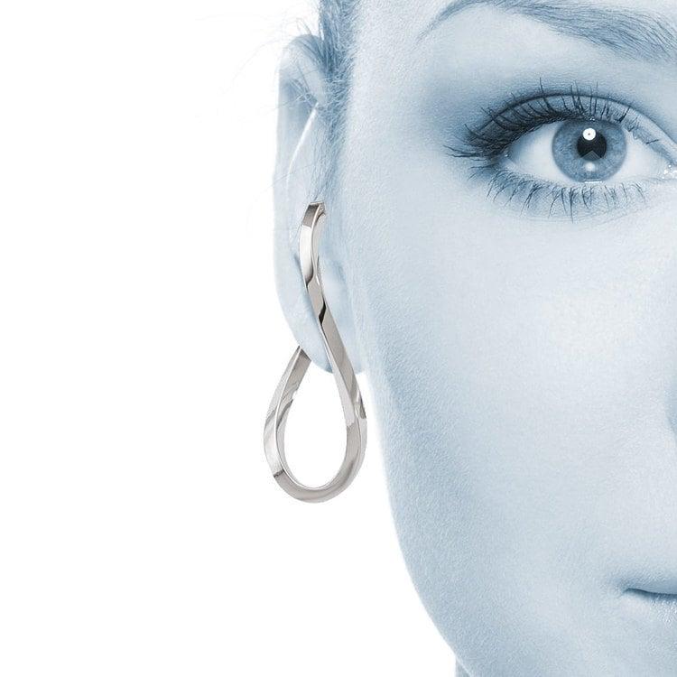 Raindrop Hoop Earrings in White Gold | 04