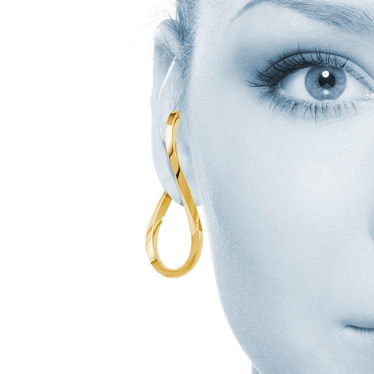 Raindrop Hoop Earrings in Yellow Gold | 04
