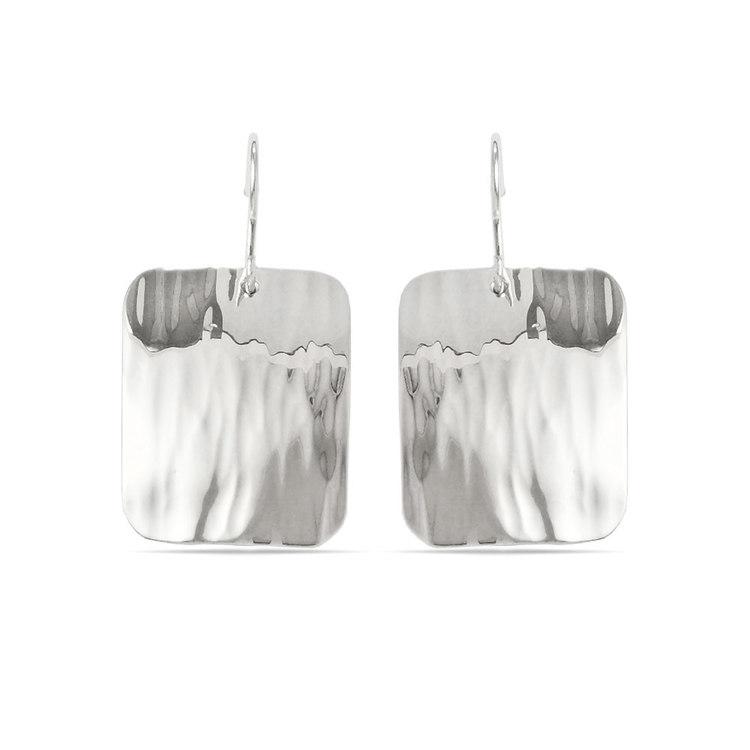 Rectangular Rippled Dangle Earrings in Silver | 01