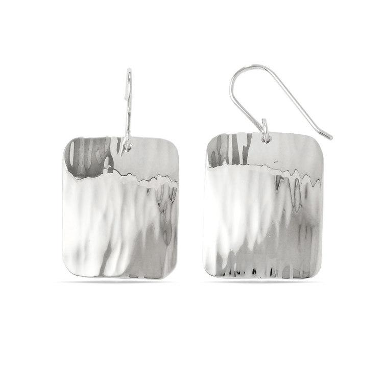 Rectangular Rippled Dangle Earrings in Silver | 02