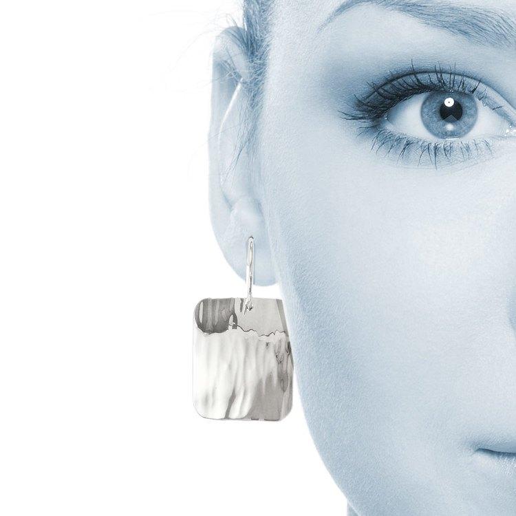 Rectangular Rippled Dangle Earrings in Silver | 04