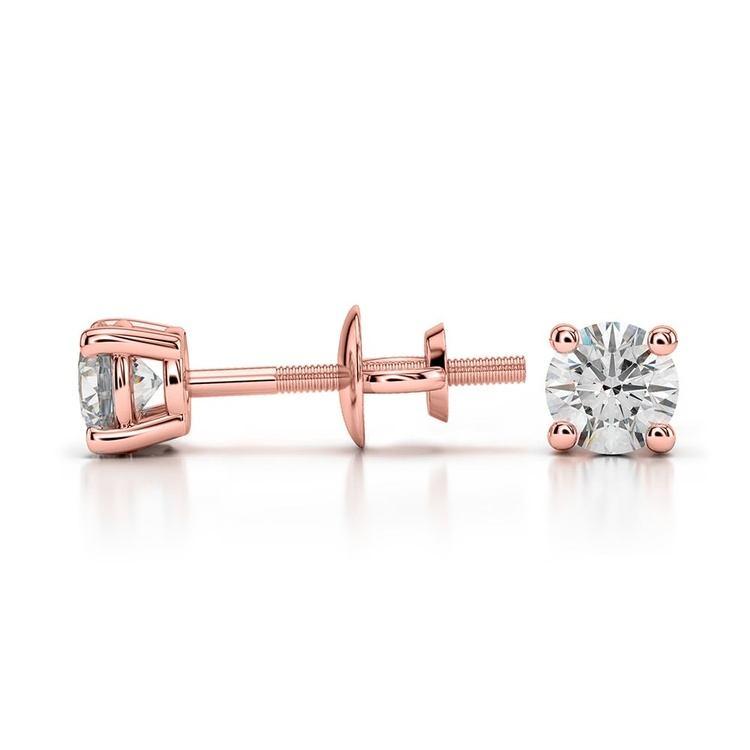 Rose Gold Moissanite Stud Earrings (3.5mm) | 03