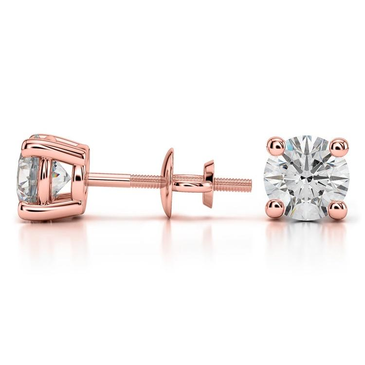 Rose Gold Moissanite Stud Earrings (6.5mm)   03