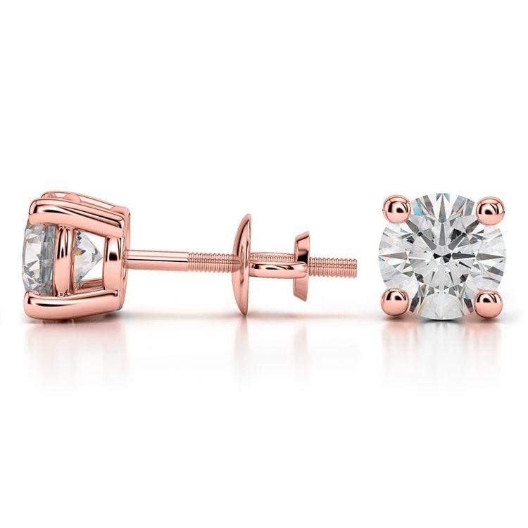 Rose Gold Moissanite Stud Earrings (7.5mm) | 03