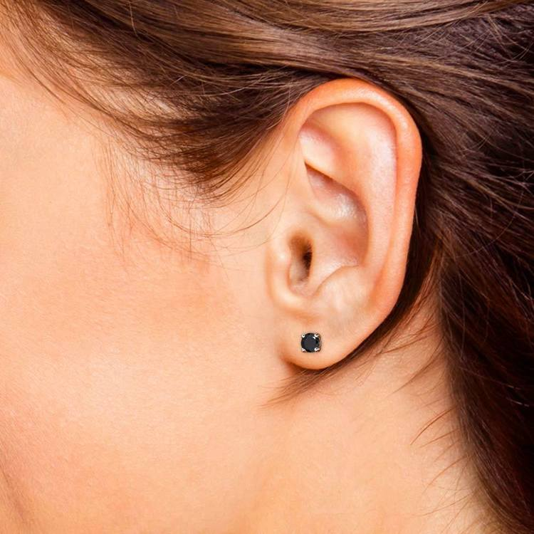 Round Black Diamond Single Stud Earring In White Gold (1 Ctw)   04