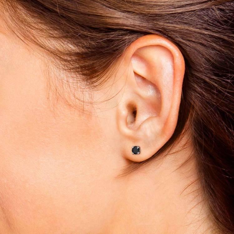 Round Black Diamond Single Stud Earring In White Gold (3/4 Ctw) | 04