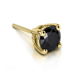 Round Black Diamond Single Stud Earring In Yellow Gold (3/4 Ctw) | Thumbnail 01
