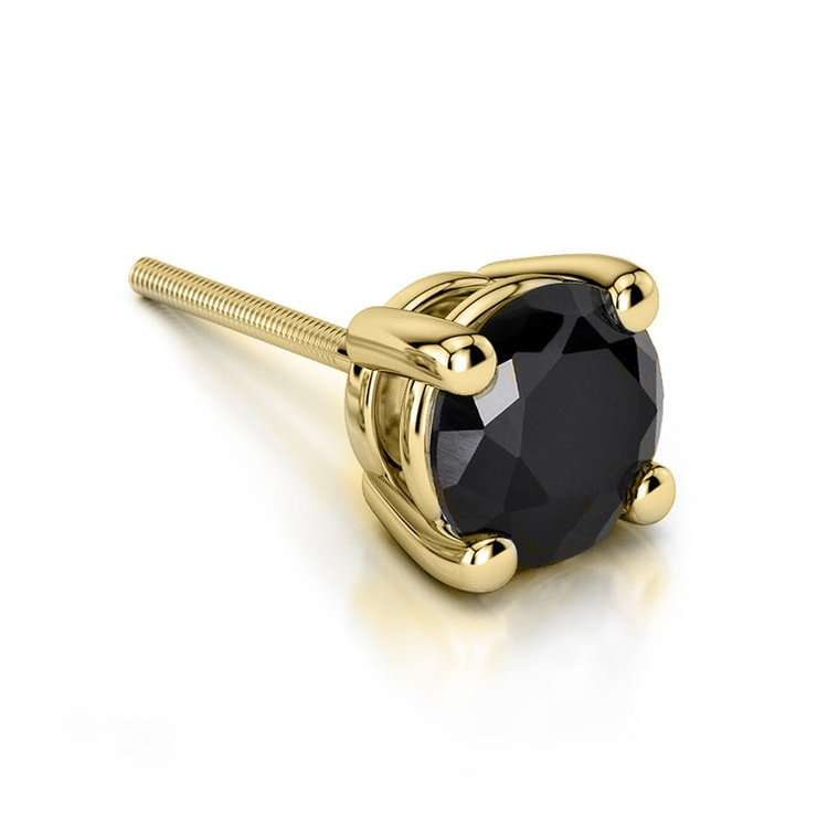 Round Black Diamond Single Stud Earring In Yellow Gold (3/4 Ctw) | 01