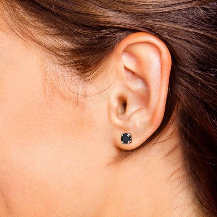 Round Black Diamond Stud Earrings in White Gold (2 ctw) | 04