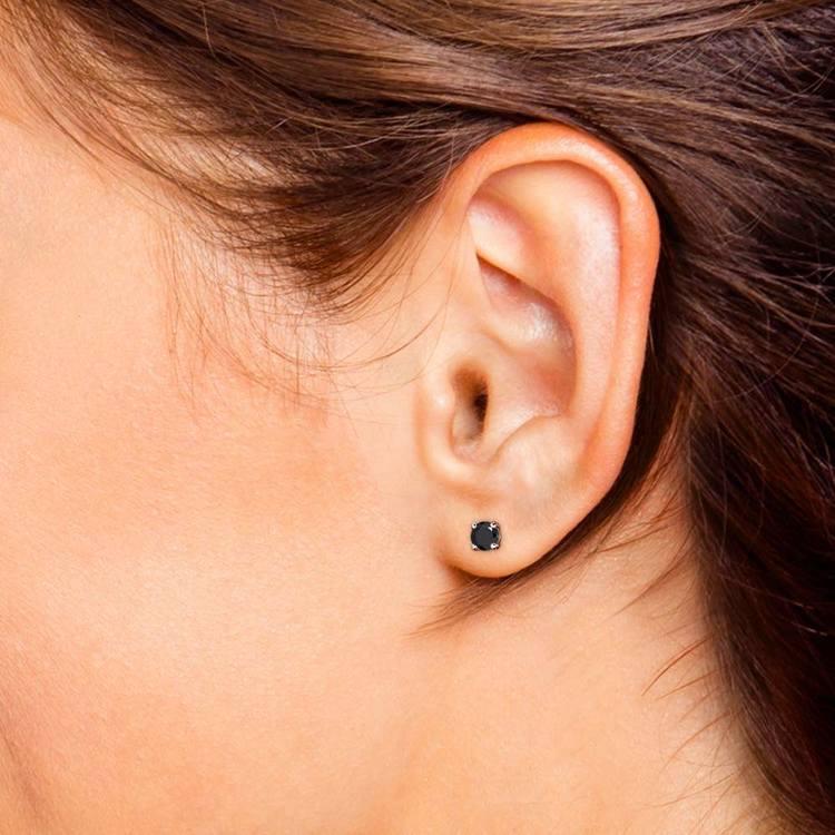 Round Black Diamond Stud Earrings in White Gold (3/4 ctw) | 04
