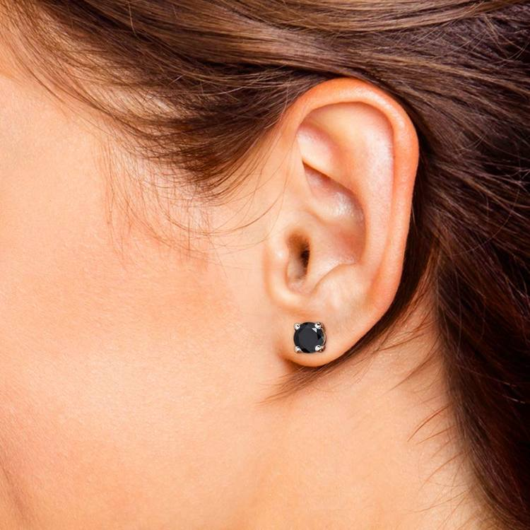 Round Black Diamond Stud Earrings in White Gold (4 ctw) | 04
