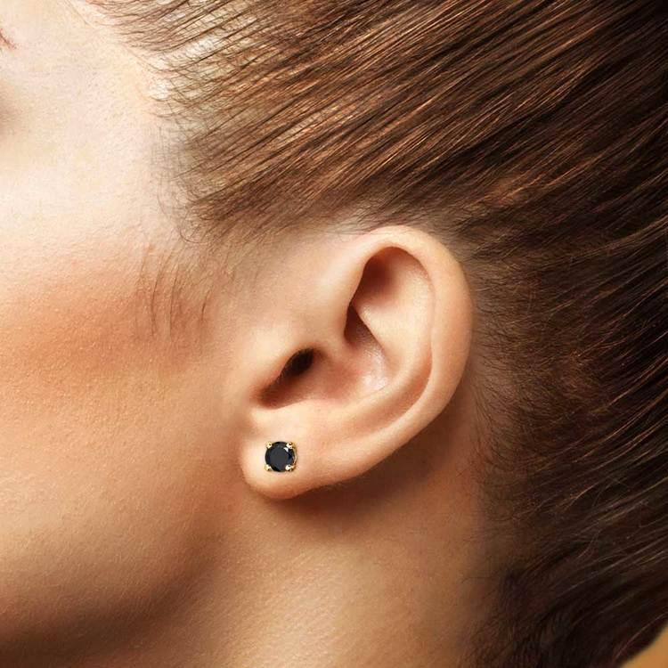 Round Black Diamond Stud Earrings in Yellow Gold (1 1/2 ctw) | 04