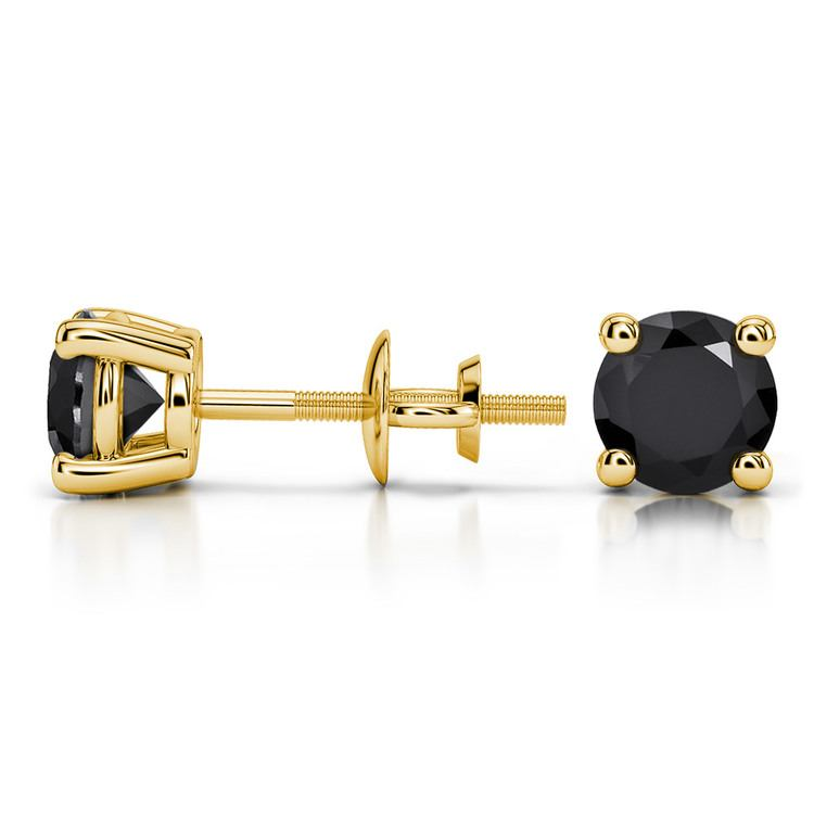 Round Black Diamond Stud Earrings in Yellow Gold (1 1/2 ctw) | 03