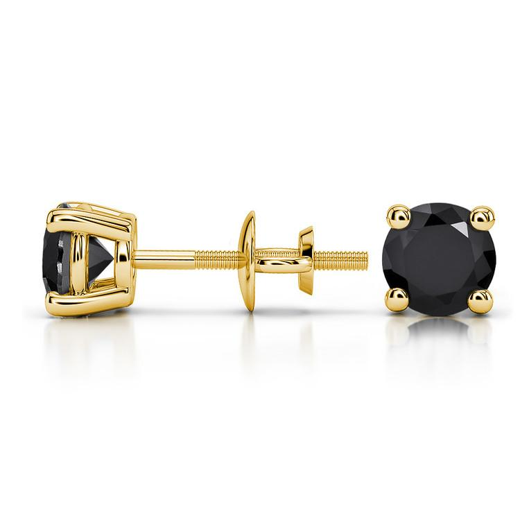 Round Black Diamond Stud Earrings in Yellow Gold (1 ctw) | 03