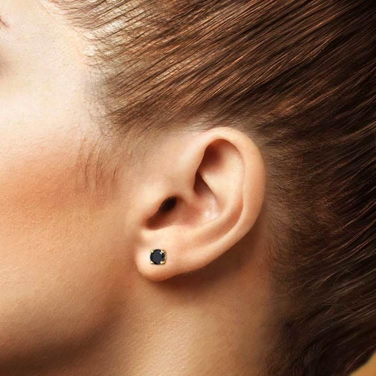 Round Black Diamond Stud Earrings in Yellow Gold (1 ctw) | 04