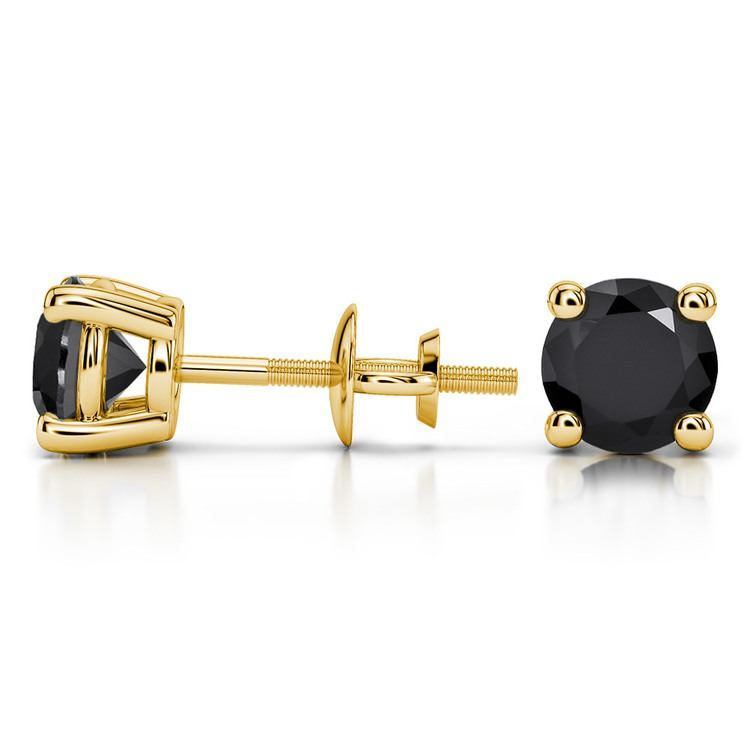 Round Black Diamond Stud Earrings in Yellow Gold (2 ctw) | 03