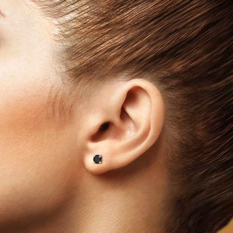 Round Black Diamond Stud Earrings in Yellow Gold (3/4 ctw) | 04