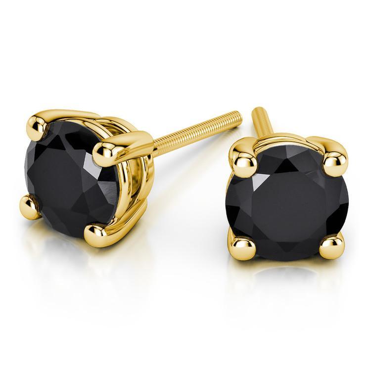 Round Black Diamond Stud Earrings in Yellow Gold (3/4 ctw) | 01