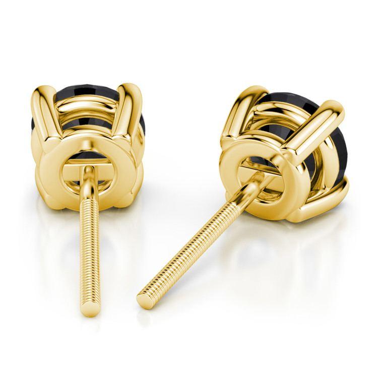 Round Black Diamond Stud Earrings in Yellow Gold (3/4 ctw) | 02