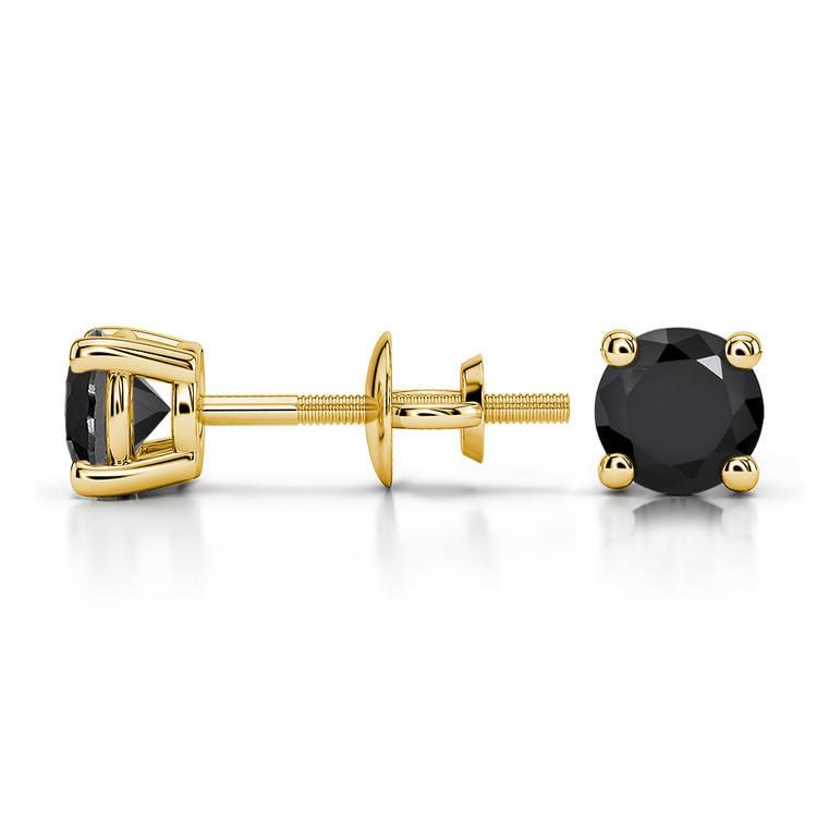 Round Black Diamond Stud Earrings in Yellow Gold (3/4 ctw) | 03