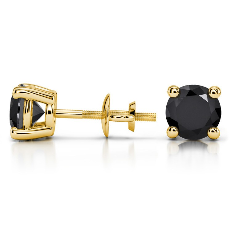 Round Black Diamond Stud Earrings in Yellow Gold (3 ctw) | 03