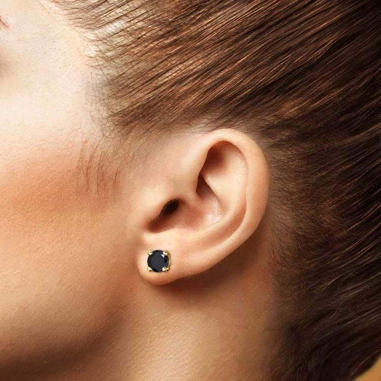 Round Black Diamond Stud Earrings in Yellow Gold (4 ctw)   04