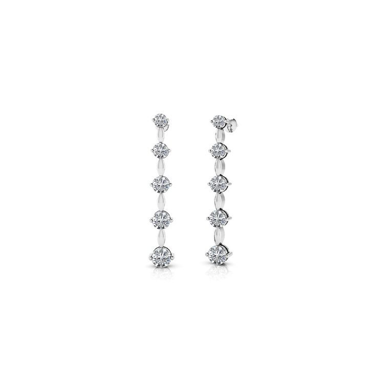 Round Diamond Drop Earrings in White Gold (1 ctw) | 01