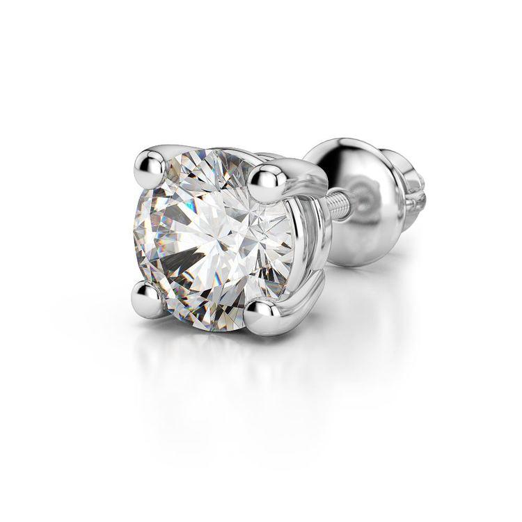 Round Diamond Single Stud Earring In White Gold (1/2 Ctw) | 04