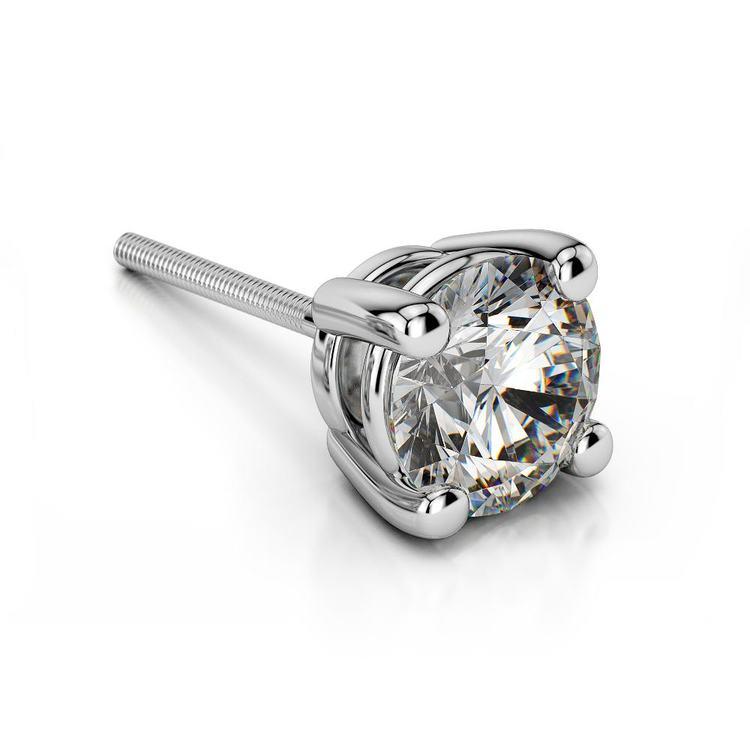 Round Diamond Single Stud Earring In White Gold (2 Ctw) | 01