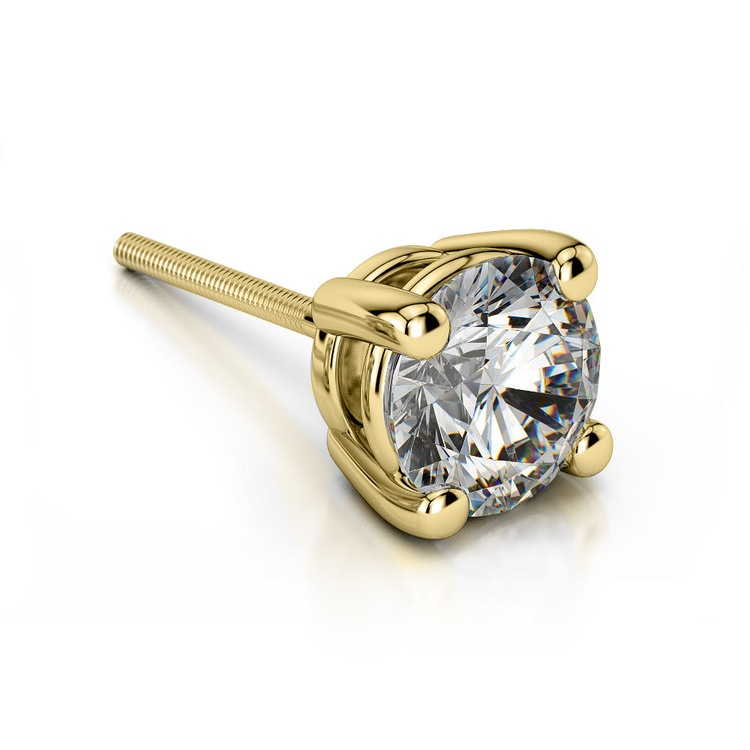 Round Single Diamond Stud Earring In Yellow Gold (1.5 Ctw) | 01