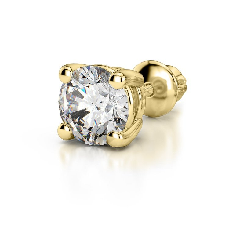 Round Single Diamond Stud Earring In Yellow Gold (1.5 Ctw) | 04