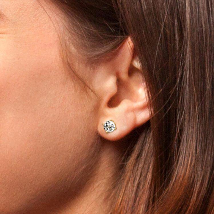 Round Single Diamond Stud Earring In Yellow Gold (2 Ctw) | 05