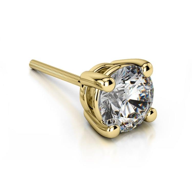 Round Single Diamond Stud Earring In Yellow Gold (2 Ctw) | 01