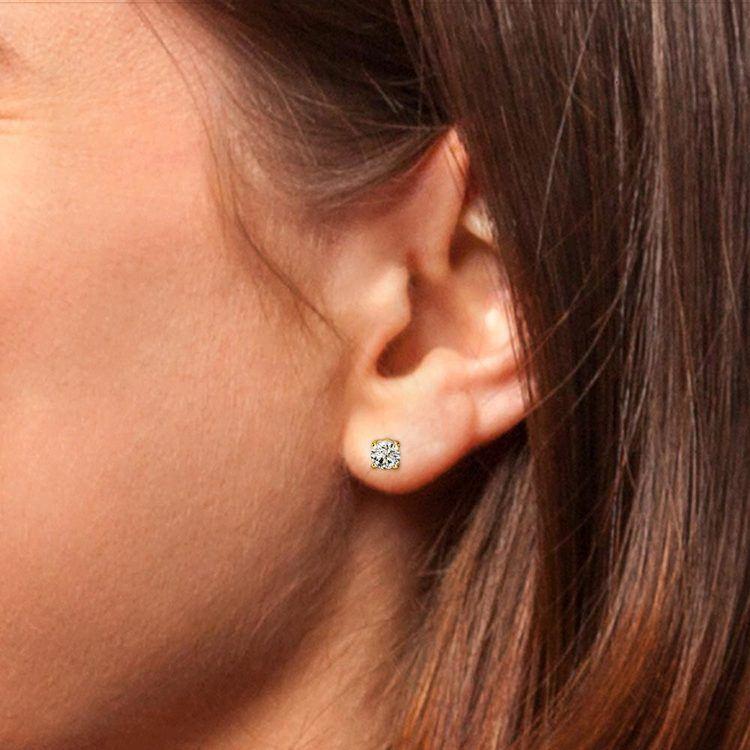 Round Single Diamond Stud Earring In Yellow Gold (3/4 Ctw)   05
