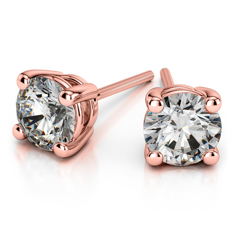 Round Diamond Stud Earrings in Rose Gold (1 1/2 ctw) - Value Collection | 01