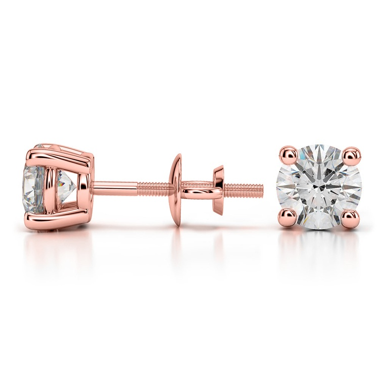 Round Diamond Stud Earrings in Rose Gold (1 1/2 ctw) - Value Collection | 03