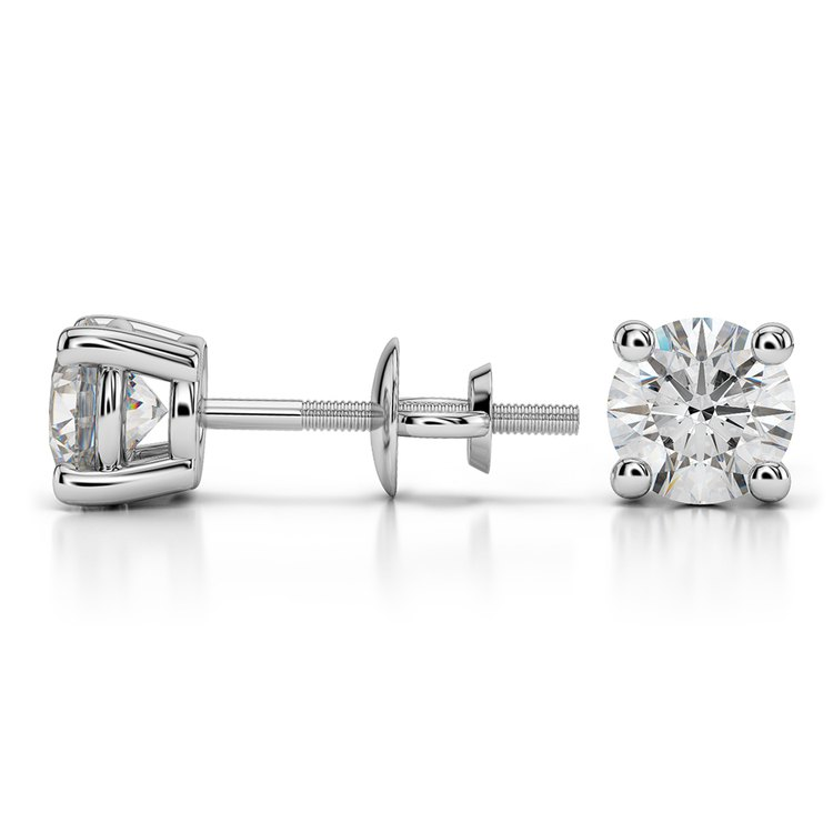 Round Diamond Stud Earrings in White Gold (1 1/2 ctw) - Value Collection | 03