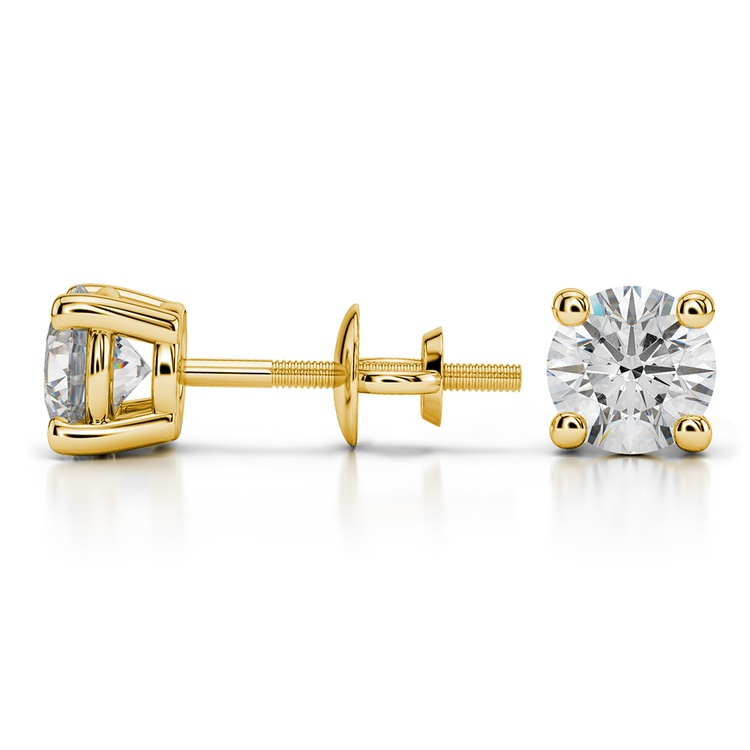 Round Diamond Stud Earrings in Yellow Gold (1 1/2 ctw) - Value Collection | 03