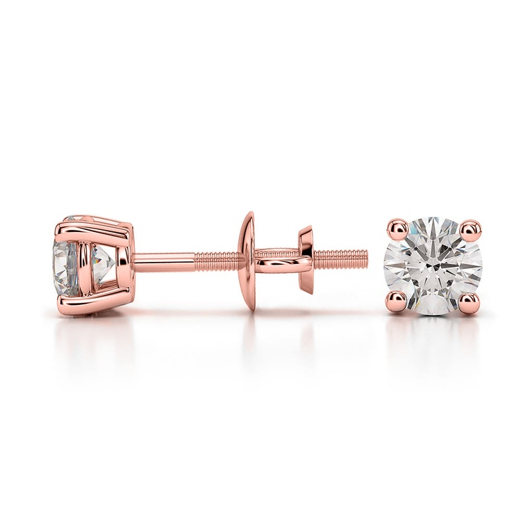 Round Diamond Stud Earrings in Rose Gold (1/2 ctw) - Value Collection | 03