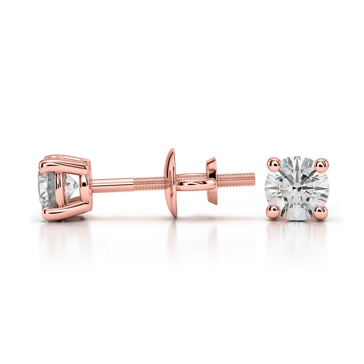 Round Diamond Stud Earrings in Rose Gold (1/3 ctw) - Value Collection | 03